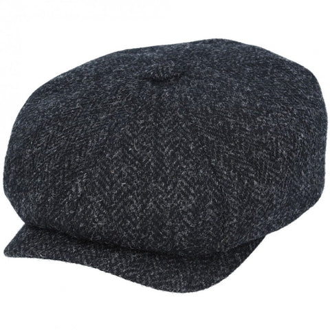 Harris Tweed Baker Boy in Dark Grey