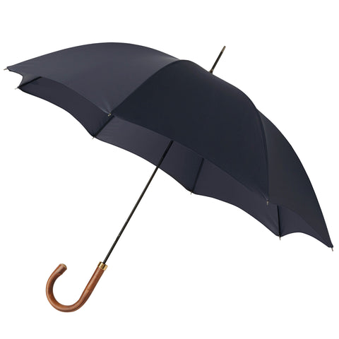 Gentlemen's Umbrella Natural Chestnut with Navy Blue