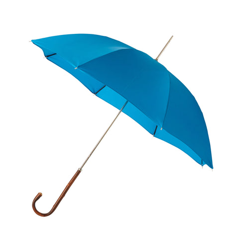 Ladies Umbrella Natural Chestnut with Kingfisher Blue