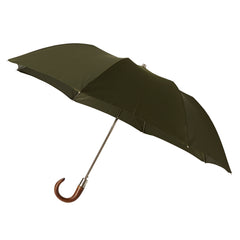 Telescopic Umbrella Smooth Maple with Hunter Green
