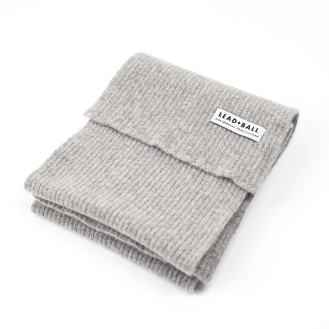 Lead + Ball Ribbed Scarf in Stone Grey