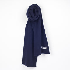 Lead + Ball Ribbed Scarf in True Navy