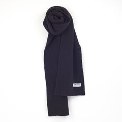 Lead + Ball Ribbed Scarf in Midnight Brown