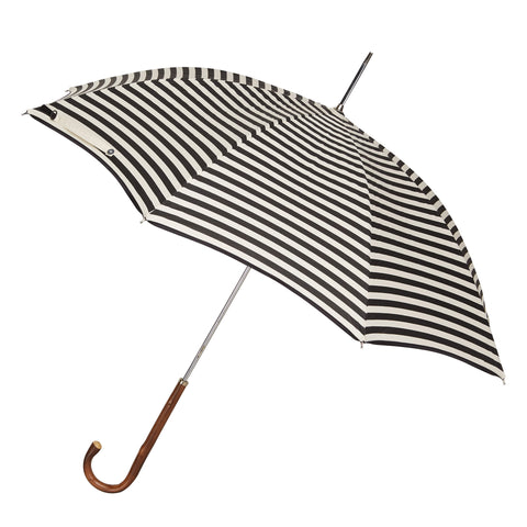 The Storm Ladies Umbrella Natural Chestnut with Monochrome Stripe Canopy