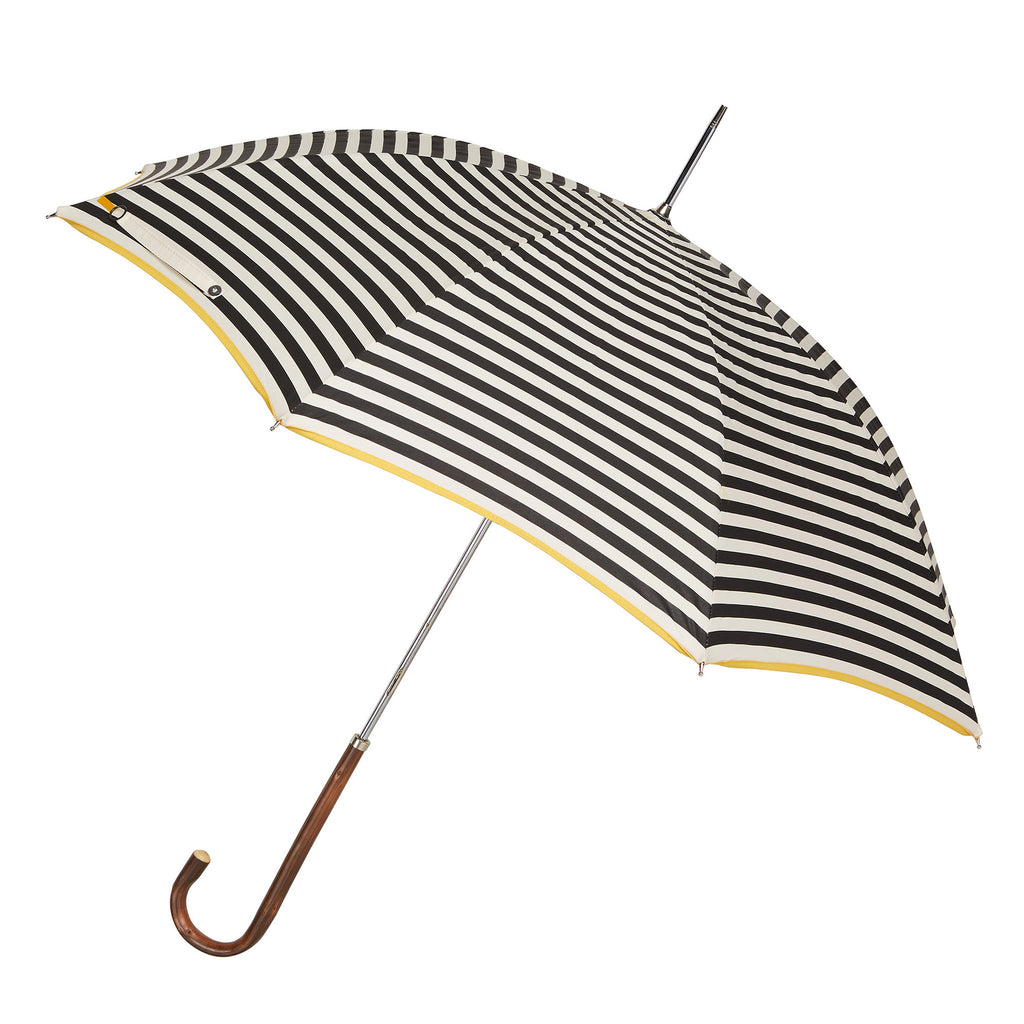 The Storm Ladies Umbrella Natural Chestnut with Monochrome Stripe and Sunshine Yellow Trim