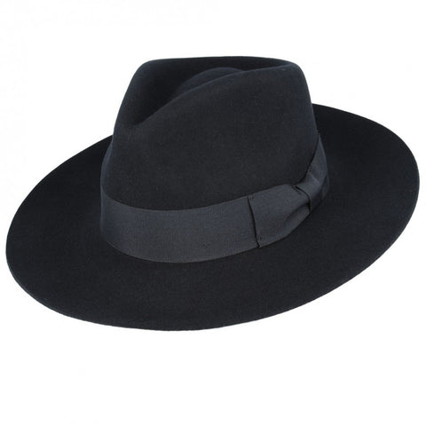 Snap Brim Wool Fedora in Pitch Black