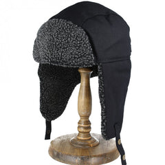Trapper Hat in Pitch Black and Slate Grey