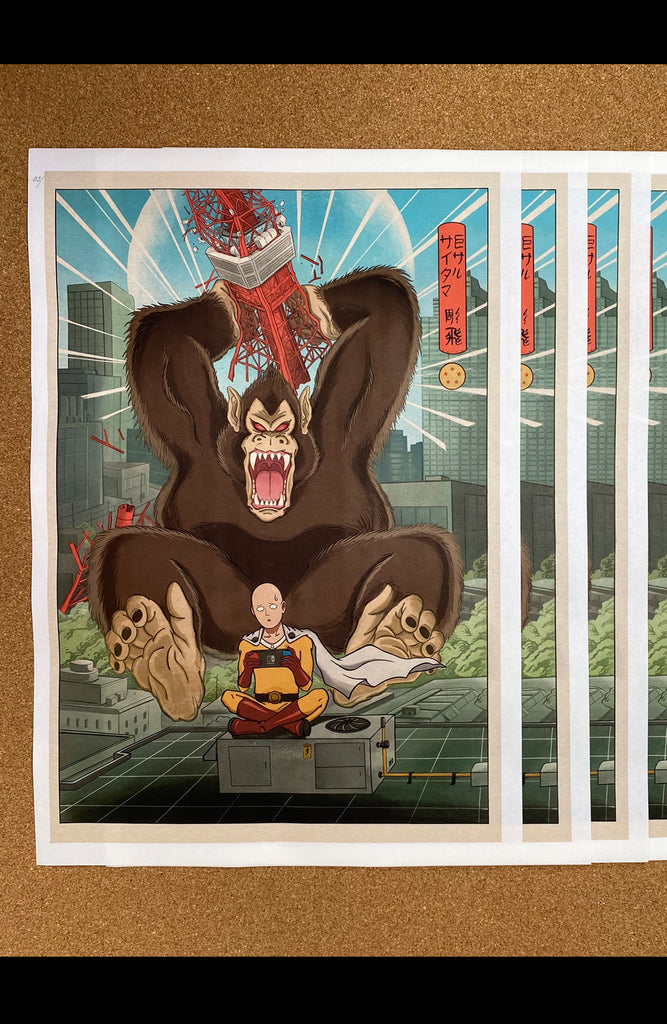 Print Mashup Saitama vs Great Ape by Jee Sayalero
