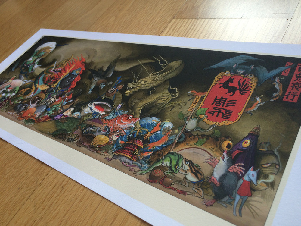Print Hyakki Yakō (百鬼夜行; Night Parade of One Hundred Demons) by Jee Sayalero
