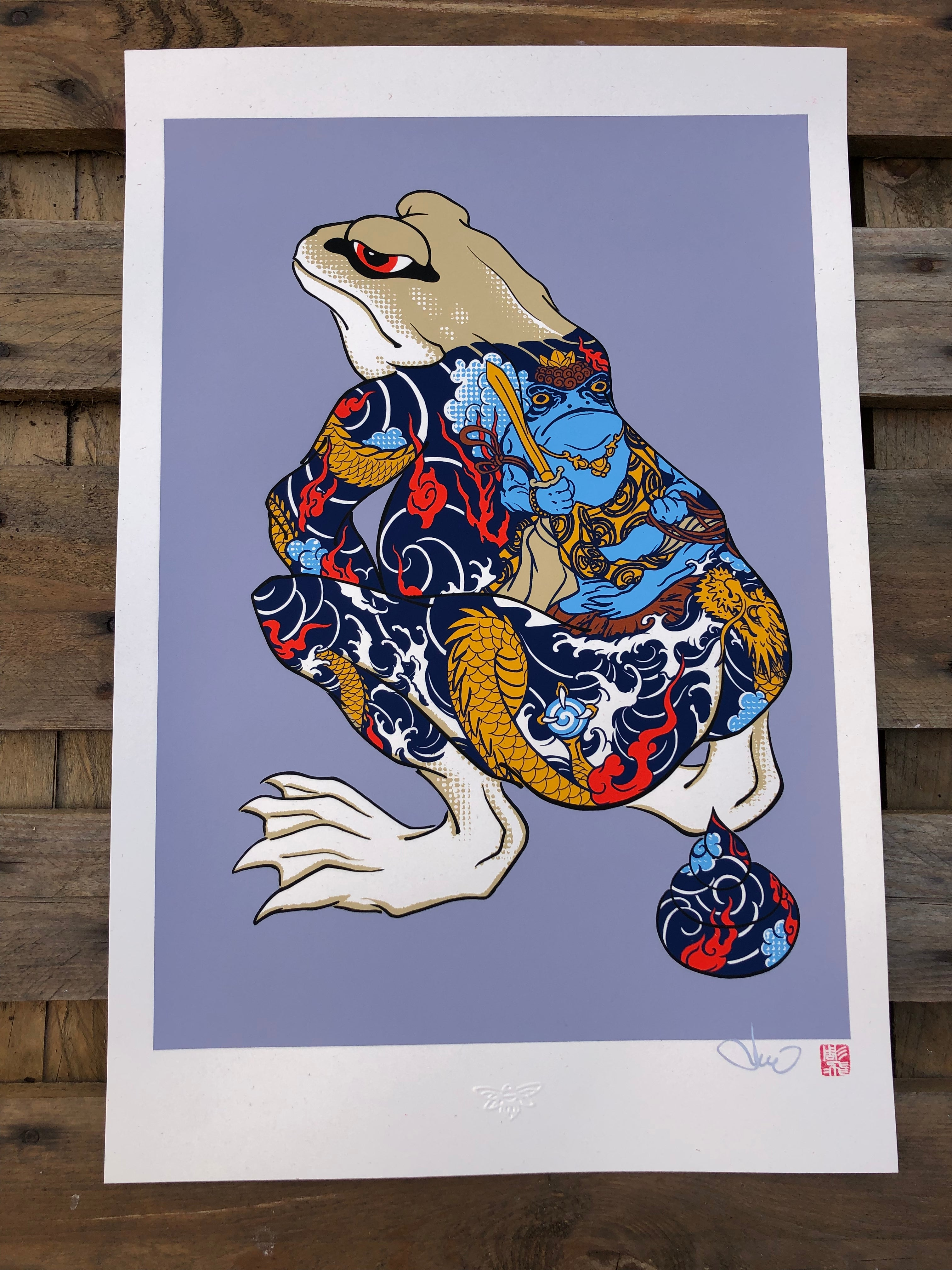 Print Shiting Tattoo Frog II - Silk Print 7 colours