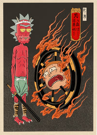 Print Oni & Wanyudo 輪入道 The Soultaker by Jee Sayalero
