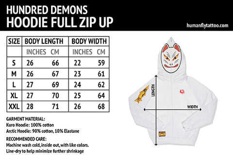 "Hoodie full zip up - Limited Edition - ""Black Hoju Kitsune"""