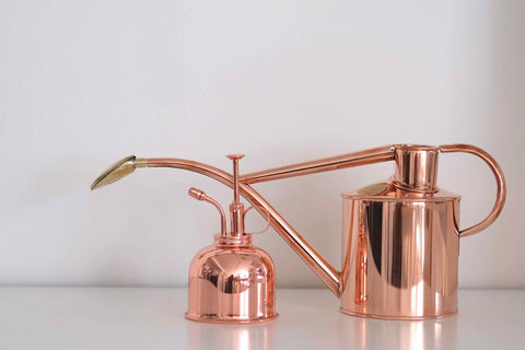 Copper watering can & mister : No.56, Penzance, Cornwall