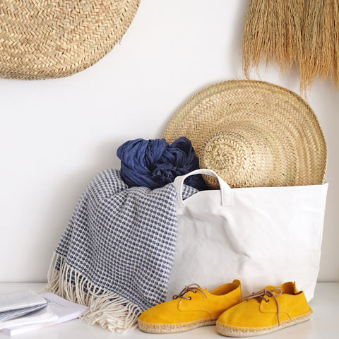 Straw hat, merino throw and yellow suede espadrilles : No.56, Penzance, Cornwall