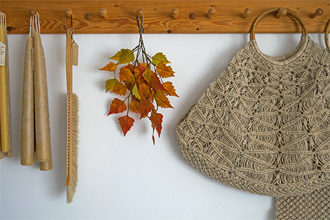 Jute baskets and autumn leaves