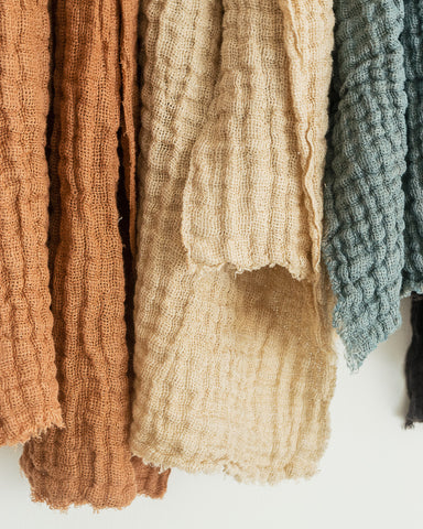 textured linen scarves