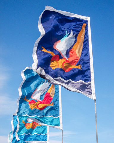 diving angel flags on Penzance promenade