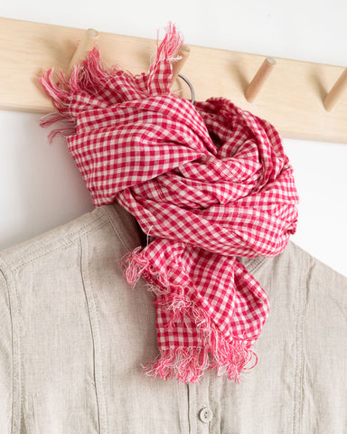 red gingham linen scarf