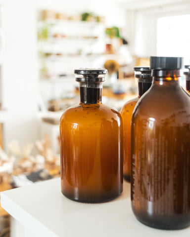 amber bottles of Haeckels toiletries