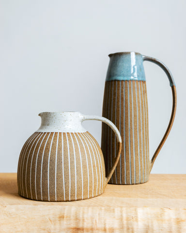 Kate Garwood striped stoneware jugs