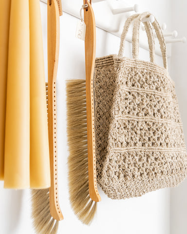 beeswax candles and macrame tote