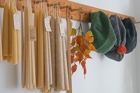 Beeswax candles and Katie Mawson hats