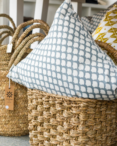 linens and textured baskets