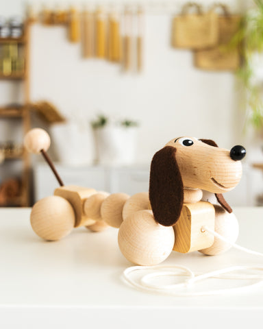wooden pull along dog