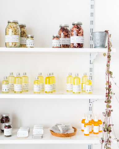 shop shelves with Yellow Gorse bath products