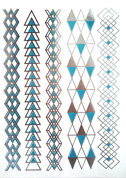 Blue and Silver Vertical Tattoos