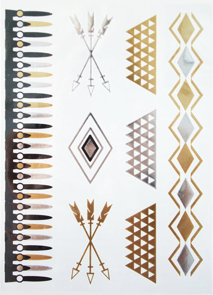Gold, Black and Silver Vertical Tattoos