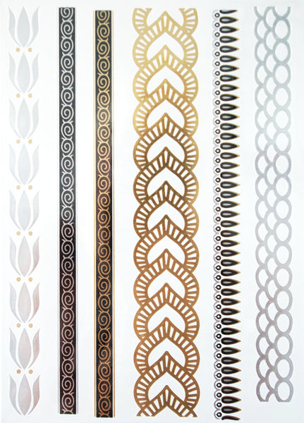 Gold, Silver and Black Long Tattoos