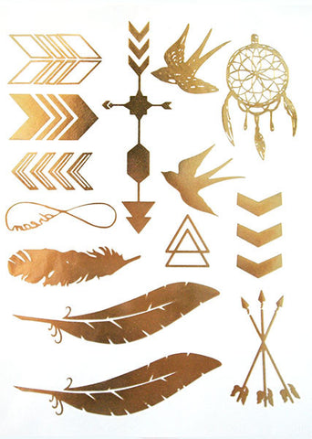 Gold Feather Tattoos