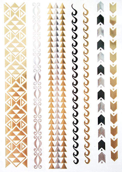 Gold, Silver and Black Wave Tattoos