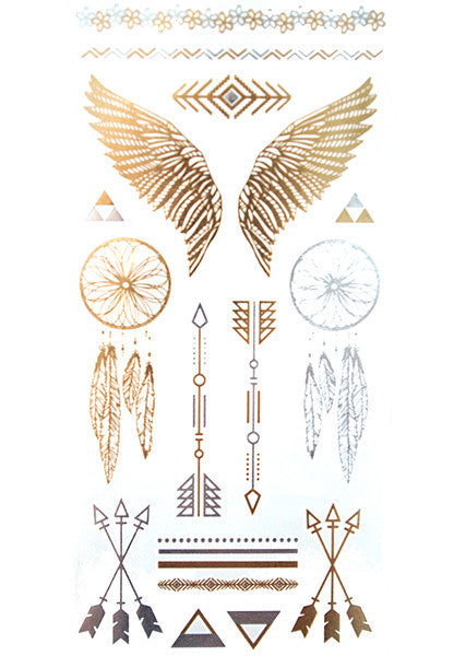 Gold and Silver Winged Tattoo