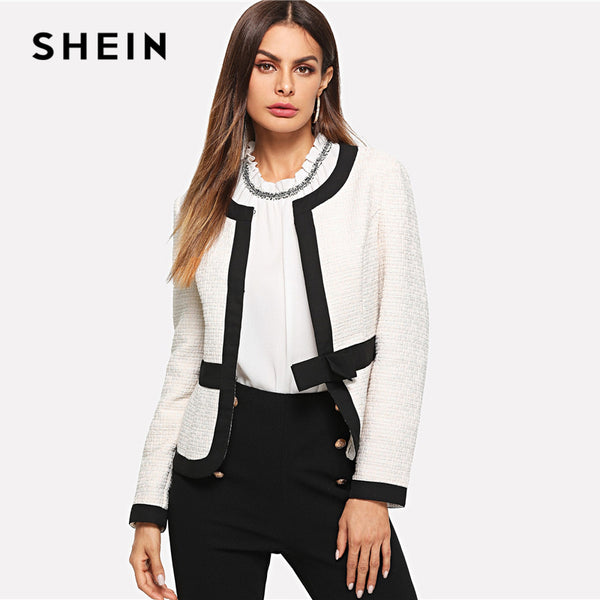 SHEIN White Bow Front Bolero Blazer Workwear Elegant Long Sleeve Bolero Coats Women Autumn Office Ladies Minimalist Outerwear