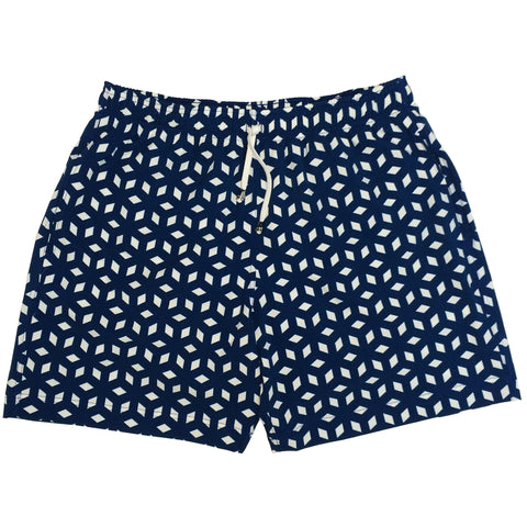 Men's Blue Cuboid Swimshort - Houndsditch - 1