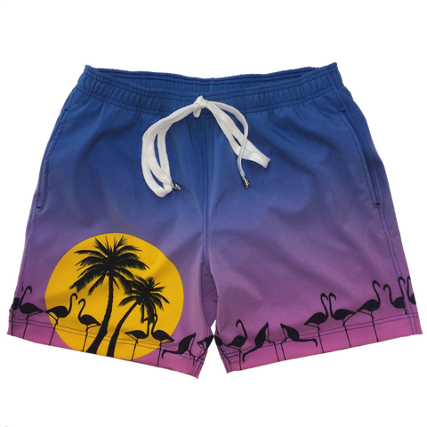 Men's Sunset Flamingo Swimshort - Houndsditch - 1