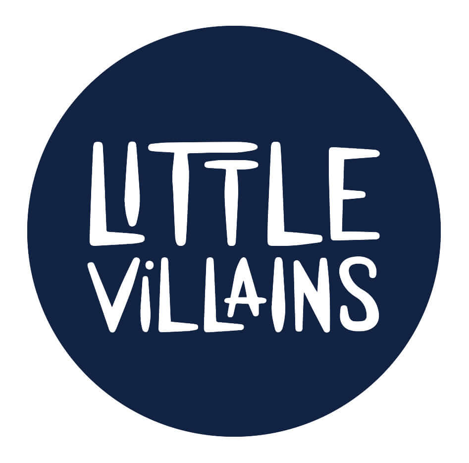 navy circle with little villains logo