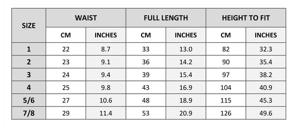 cropped joggers size chart