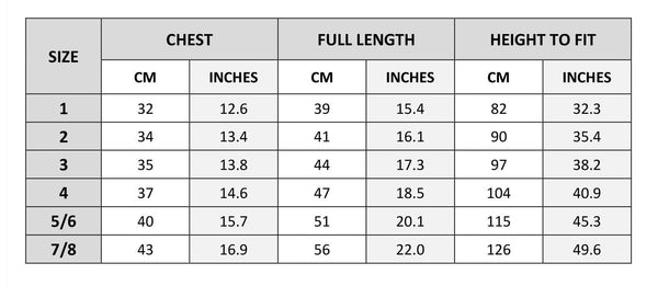 Hoodies and jacket size chart