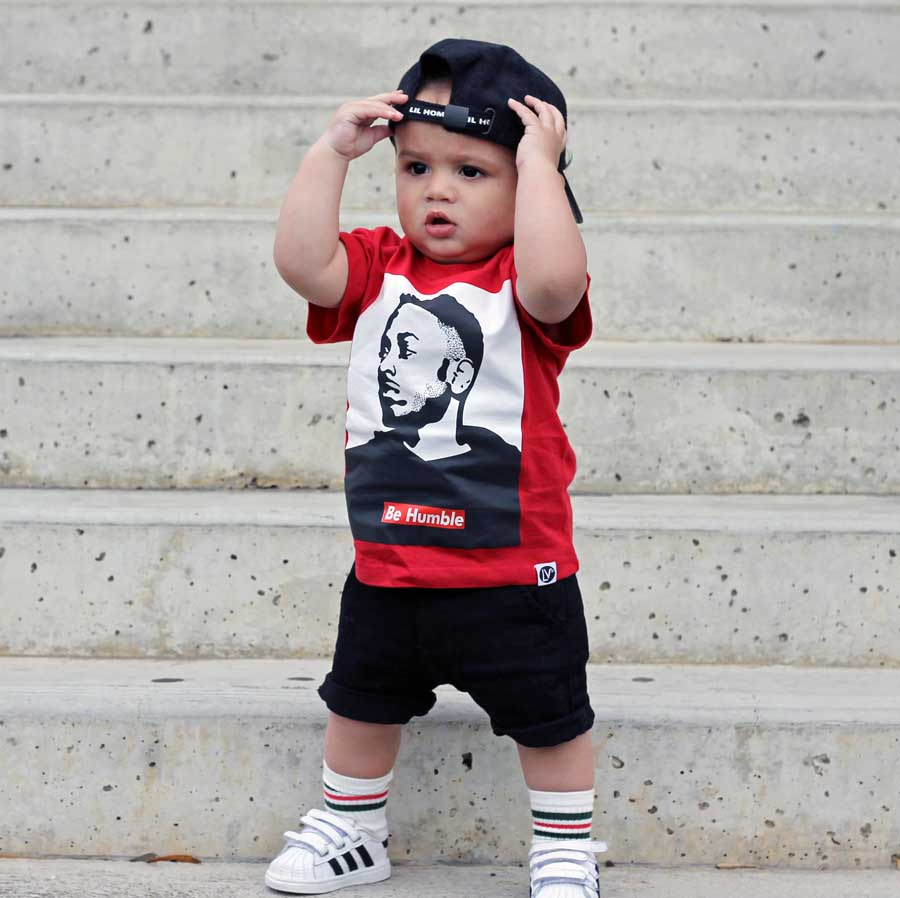baby boy wearing kendrick lamar hip hop shirt in red