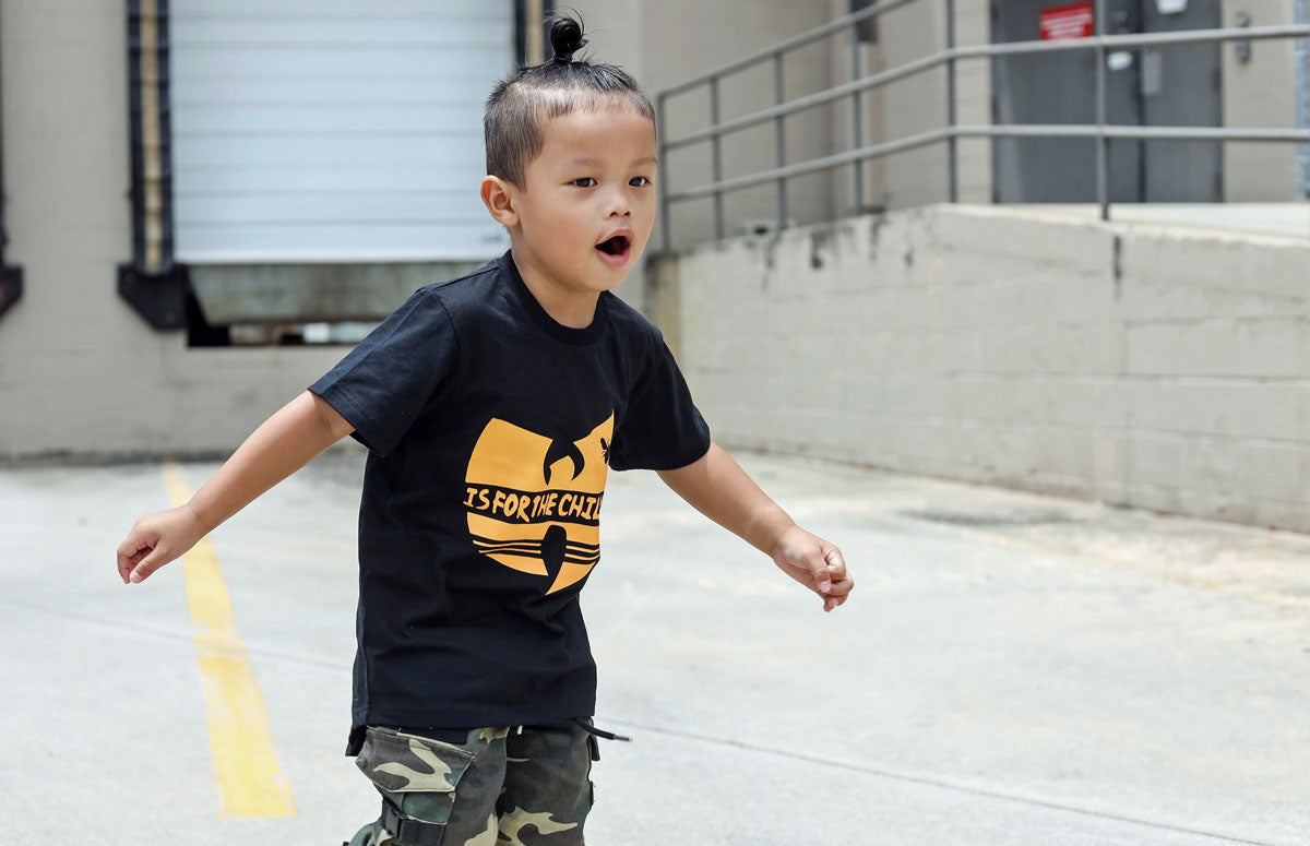 toddler boy wearing black hip hop t-shirt with yellow wutang print