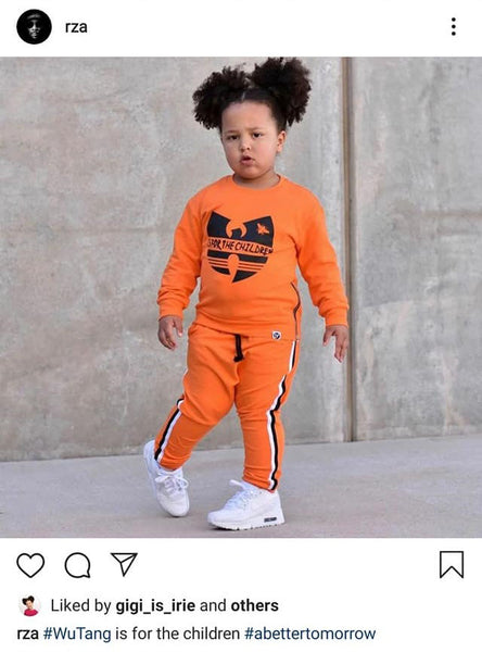 rza reposts Gigi in little villains wu-tang tracksuit