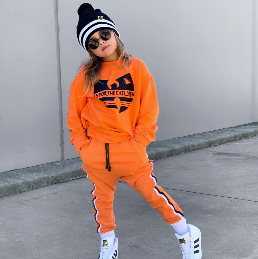 cool kid sienna in the orange wu-tang clan is for the children sweatshirt tracksuit