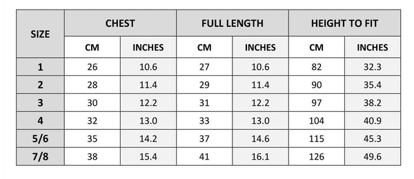 tie front tee size chart