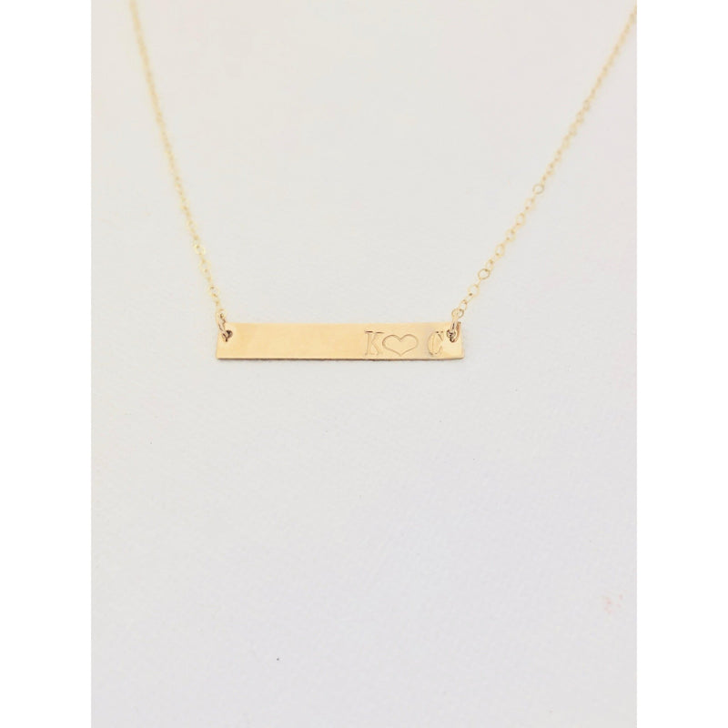 Double Initial Bar Necklace - Deluxur Jewellery