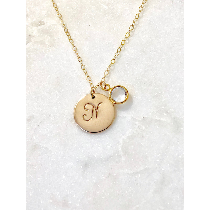 Personalised Birthstone Initial Necklace - Deluxur Jewellery