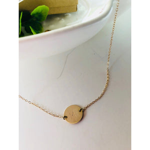 "(Wholesale) 15"" Dainty Initial Disc Necklace - Deluxur Jewellery"