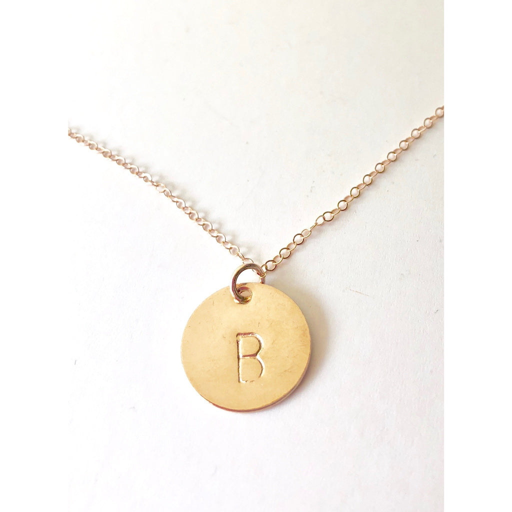 Sophia - Large Initial Disc Necklace - Deluxur Jewellery